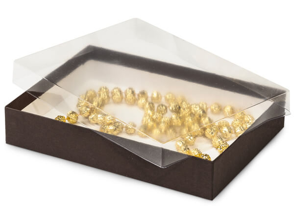 "7x5x1-1/4"" Clear Lid Display Boxes With Chocolate Bases"