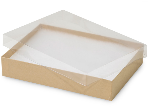 "Clear Lid Kraft Base Jewelry Boxes, 7x5x1.25"", 100 Pack, Cotton Fill"