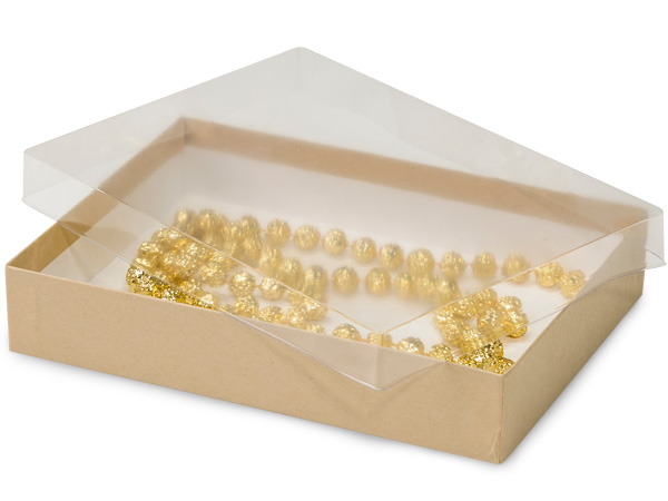 "7x5x1-1/4"" Clear Lid Display Boxes With Kraft Bases"