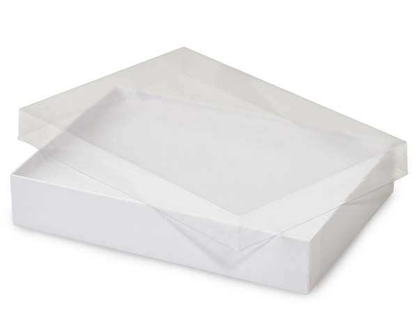 "7x5x1-1/4"" Clear Lid Display Boxes With White Swirl Base"