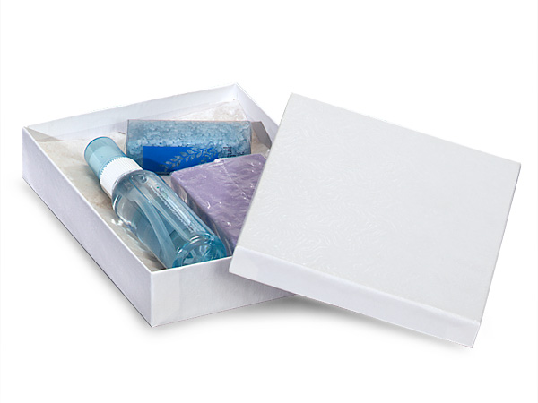 """White Embossed Swirl Jewelry Boxes, 7x5x1.25"""", 100 Pack, Cotton Fill"""