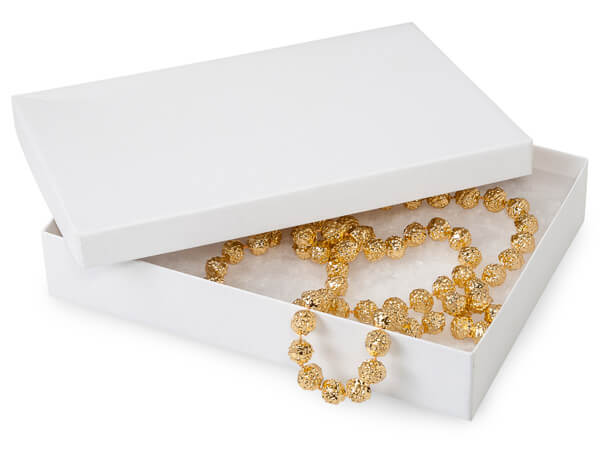 """White Kraft Recycled Jewelry Boxes, 7x5x1.25"""", 100 Pack, Cotton Fill"""