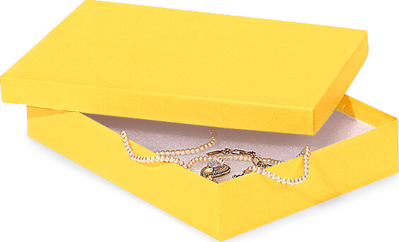 "Yellow Jewelry Gift Boxes, 7x5x1.25"", 100 Pack, Fiber Fill"
