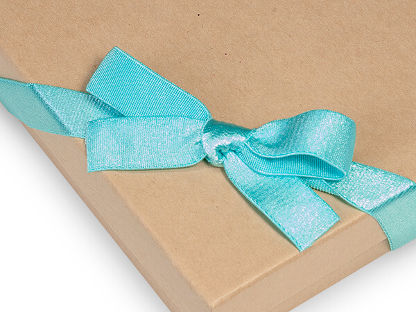 "8"" Aqua Satin Stretch Wide Loops with Pre-Tied Bows, 50 pack"