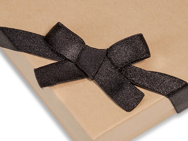 "8"" Black Satin Stretch Wide Loops 1/2"" Wide Elastic Loop Pre-Tied Bow"
