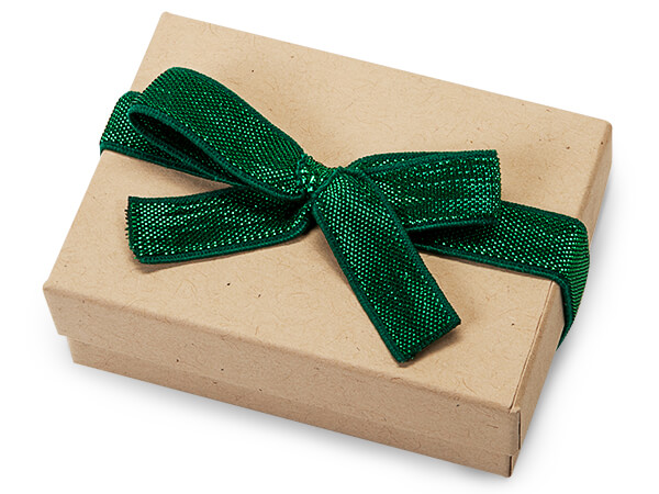 """8"""" Metallic Green Stretch Wide Loops with Pre-Tied Bows, 50 pack"""