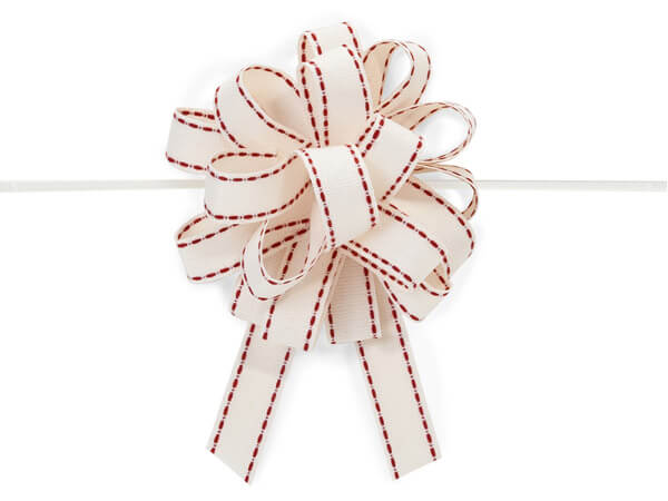 """*4-1/2"""" Ivory Cotton Pull Bows with Red Stitching - 20 Loops"""