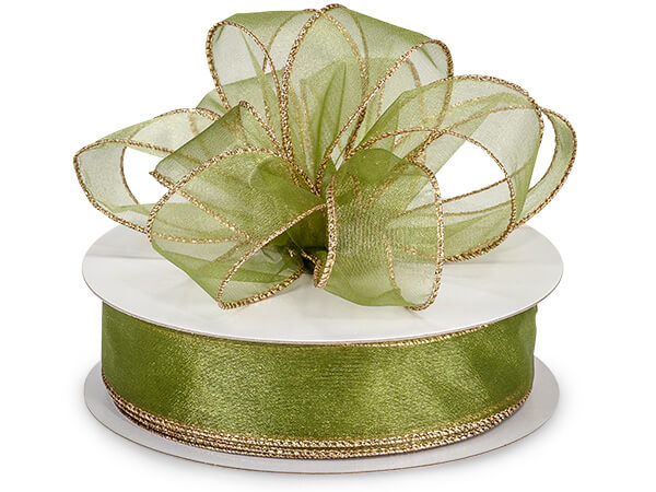 "Basil Wired Metallic Edge Sheer 1-1/2""x50 yds 100% Nylon Ribbon"