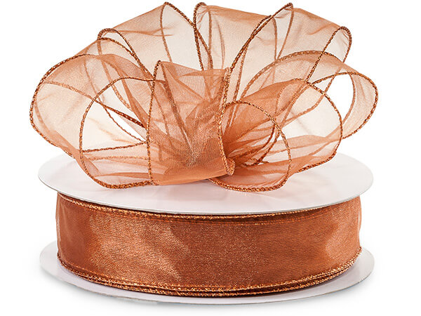 "Copper with Copper Metallic Edge Sheer Wired Ribbon, 1-1/2""x50 yards"