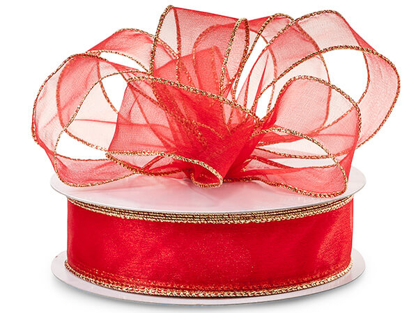 "Red Wired Metallic Edge Sheer 1-1/2""x50 yds 100% Nylon Ribbon"