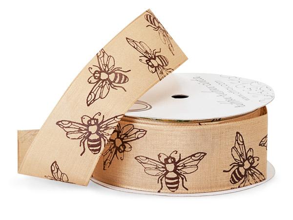 """Bees Natural Ribbon, 1-1/2"""" x 10 yards"""