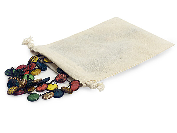 "Cotton Favor Bags with Drawstrings, Medium 5x7"", 12 Pack"