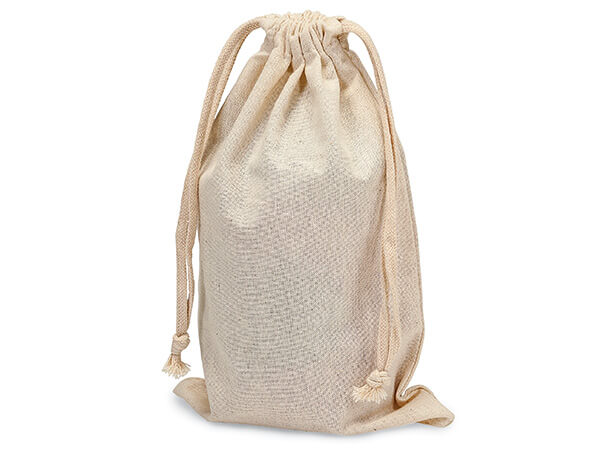 "Cotton Favor Bags with Drawstrings, Medium Tall 6x10"", 12 Pack"