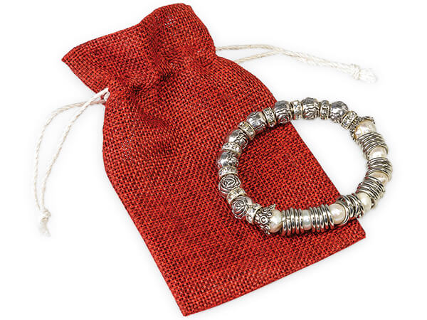 "*Deep Red Burlap Favor Bags with Drawstrings, 3x5"", 12 Pack"