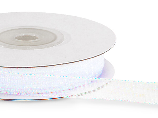 "White Iridescent Sheer Ribbon 3/8""x25 Yds - 70% Nylon 30% Lurex"
