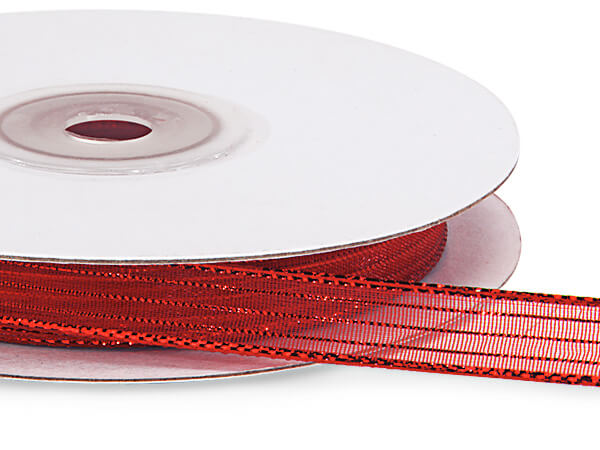 "Red Iridescent Sheer Ribbon, 3/8""x25 yards"