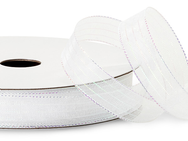 "White Iridescent Sheer Ribbon, 5/8""x50 yards"