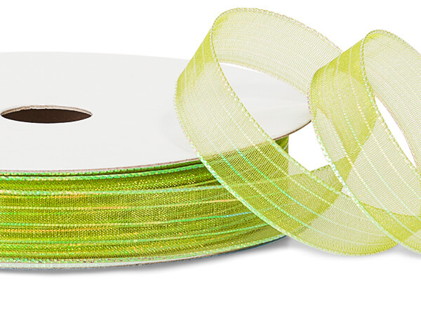 "Apple Green Iridescent Sheer Ribbon, 5/8""x50 yards"