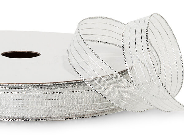"""White and Silver Iridescent Sheer Ribbon, 5/8""""x50 yards"""