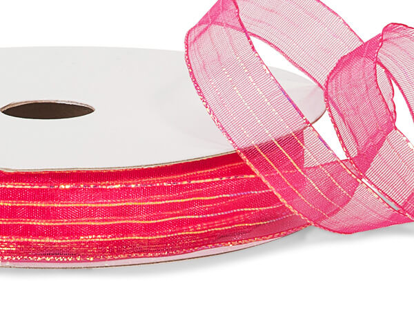 "Hot Pink Iridescent Sheer Ribbon, 5/8""x50 yards"