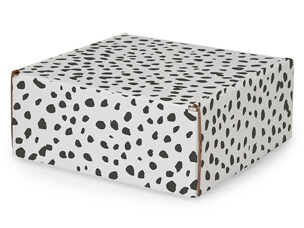 "Dalmatian Dots Tab Lock Mailer Boxes, 8x8x3.5"", 25 Pack"