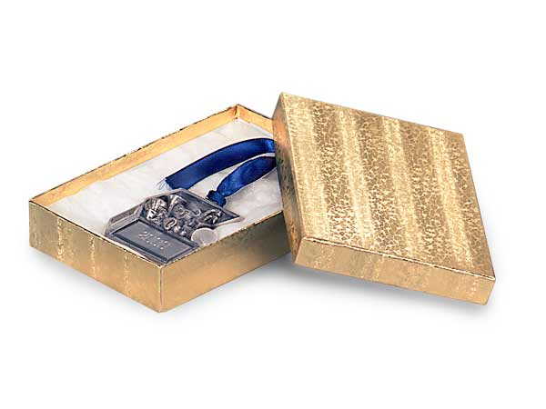 3-5/8x2-5/8x1-1/4 Gold Embossed Foil Jewelry Box with Cotton Filler
