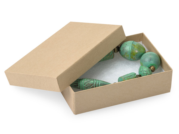 """Brown Kraft Jewelry Gift Boxes, 3.5x2.5x1.25"""",100 Pack, Cotton Fill"""