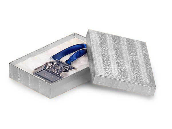 "Silver Embossed Foil Jewelry Boxes, 3.5x2.5x1.25"", 100 Pack, Cotton Fi"