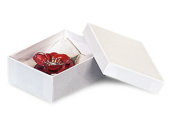 """White Embossed Swirl Jewelry Boxes, 3.5x2.5x1.25"""",100 Pack, Cotton Fil"""