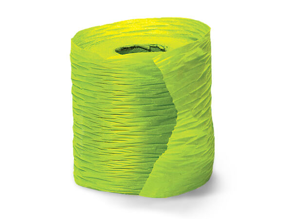 "*Paper Chartreuse Crinkle Ribbon 1-1/2""x25 yds"