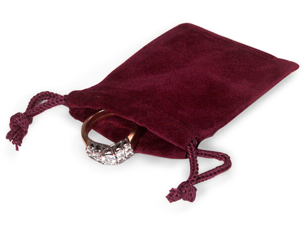 "Burgundy Velour Jewelry Bags with Drawstrings, 2x2.5"", 100 Pack"