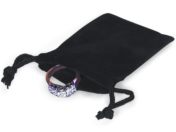 "Black Velour Jewelry Bags with Drawstrings, 2x2.5"", 100 Pack"
