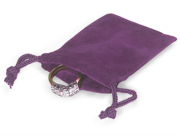"""Grape Velour Jewelry Bags with Drawstrings, 2x2.5"""", 100 Pack"""