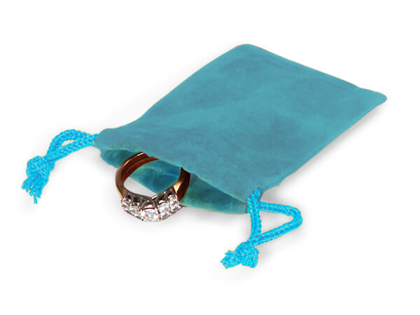 "Robins Egg Velour Jewelry Bags with Drawstrings, 2x2.5"", 100 Pack"