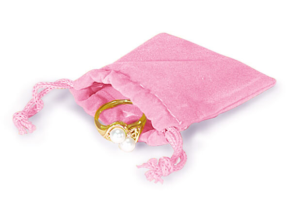 "*Pink Velour Jewelry Pouches with Drawstrings, 2x2.5"", 25 Pack"