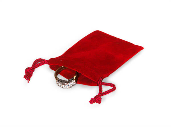 "*Red Velour Jewelry Pouches with Drawstrings, 2x2.5"", 25 Pack"
