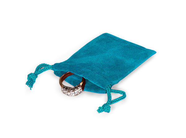 "**Robins Egg Velour Jewelry Pouches with Drawstrings, 2x2.5"", 25 Pack"