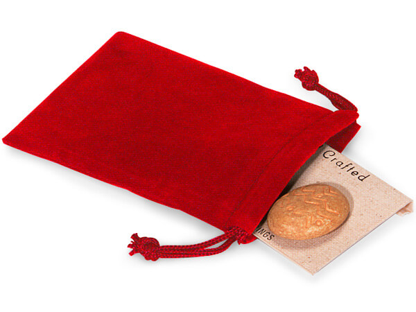 "Red Velour Jewelry Bags with Drawstrings, 3x4"", 100 Pack"