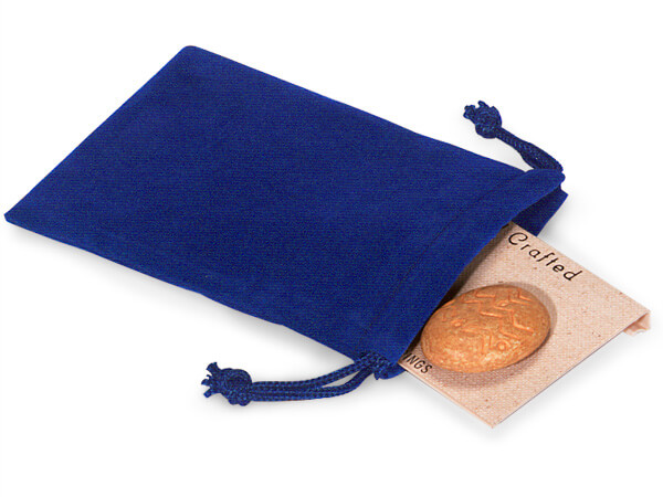 """Blue Velour Jewelry Pouches with Drawstrings, 3x4"""", 100 Pack"""