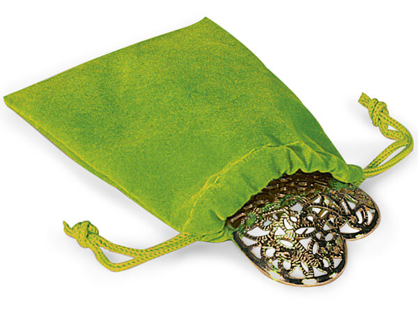 "Citrus Velour Jewelry Pouches with Drawstrings, 3x4"", 100 Pack"