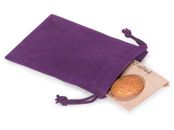 "Grape Velour Jewelry Bags with Drawstrings, 3x4"", 100 Pack"