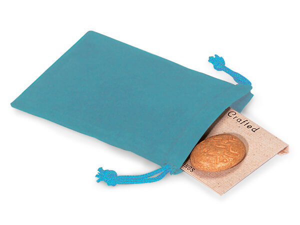 """Robins Egg Velour Jewelry Bags with Drawstrings, 3x4"""", 100 Pack"""