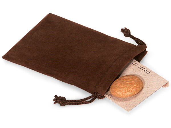 "Chocolate Velour Jewelry Bags with Drawstrings, 3x4"", 100 Pack"