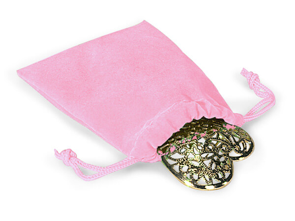 "*Pink Velour Jewelry Pouches with Drawstrings, 3x4"", 25 Pack"