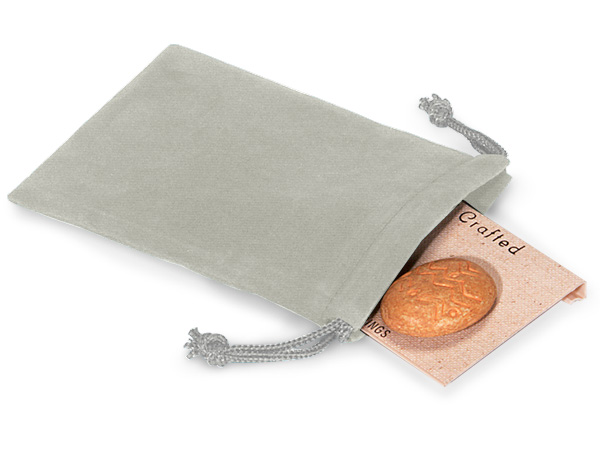 "*Gray Velour Jewelry Pouches with Drawstrings, 3x4"", 25 Pack"