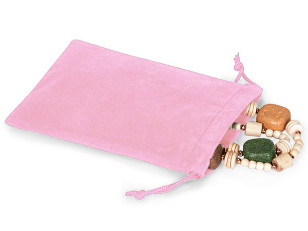 "Pink Velour Jewelry Bags with Drawstrings, 4x5.5"", 100 Pack"