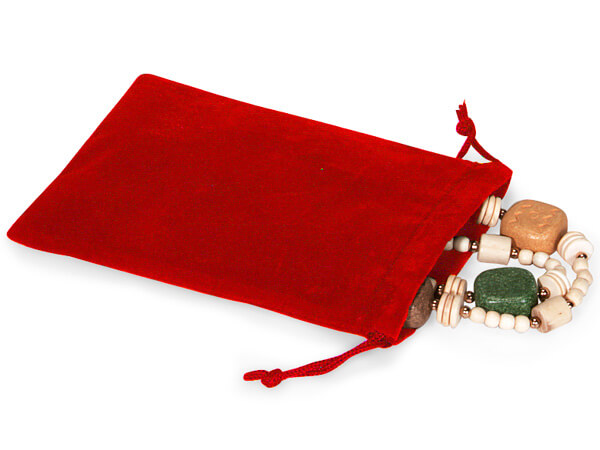 """Red Velour Jewelry Pouches with Drawstrings, 4x5.5"""", 100 Pack"""