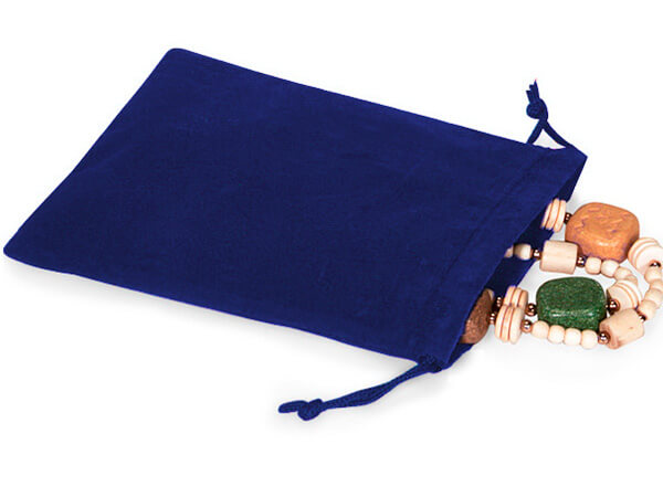 "Blue Velour Jewelry Bags with Drawstrings, 4x5.5"", 100 Pack"