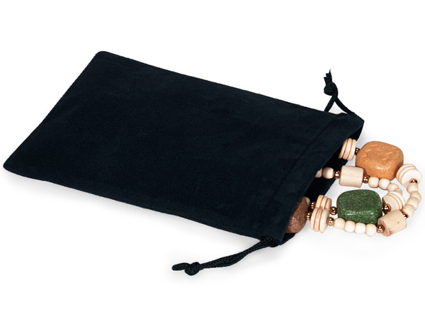 "Black Velour Jewelry Bags with Drawstrings, 4x5.5"", 100 Pack"