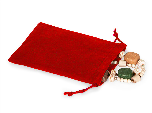 "*Red Velour Jewelry Pouches with Drawstrings, 4x5.5"", 25 Pack"